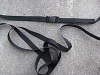 Assembled tie down strap.